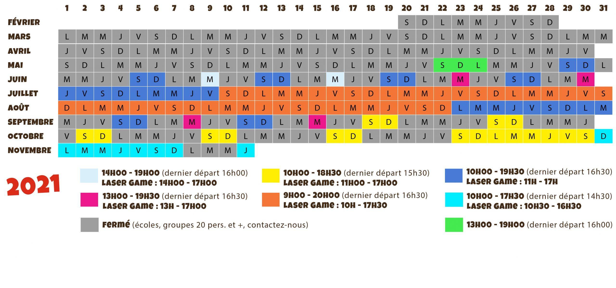 calendrier d'ouverture de l'accrobranche canyon forest