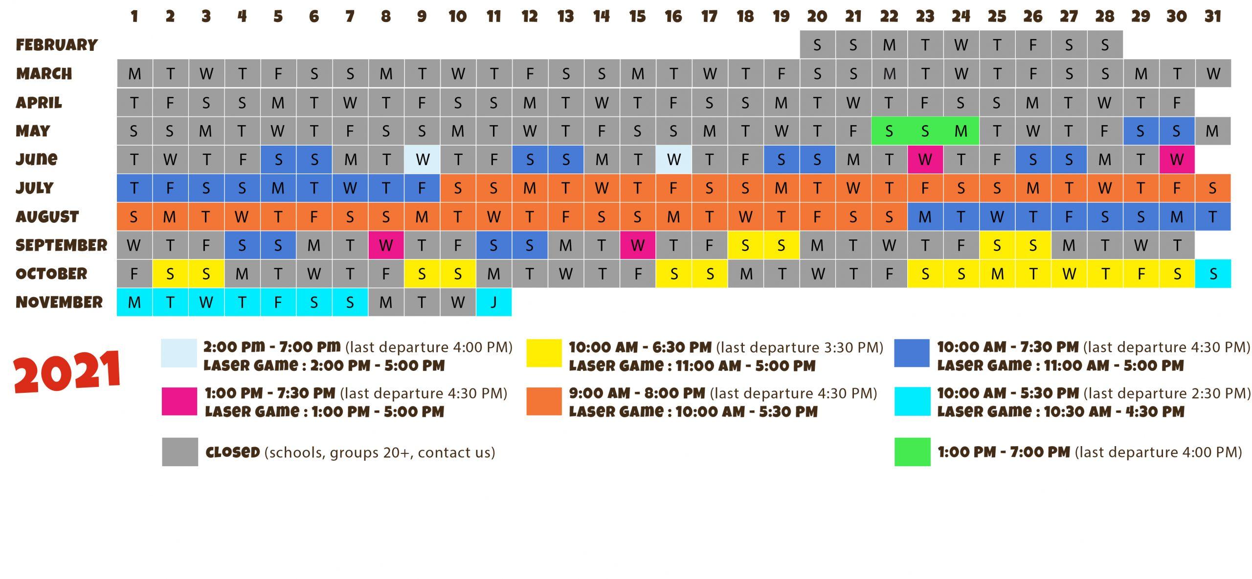 calendar of opening